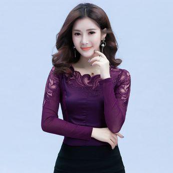 Nice 2018 New Ruffled Collar Long Sleeve Blouses Shirts With Beaded Plus Size Lace Women Blouse Women Clothing Blusas Femininas 59a0 Women's Clothing