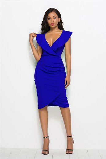 3fe5376d9c89 Hualong Sexy Sleeveless Flouncing Deep V Bodycon Dress