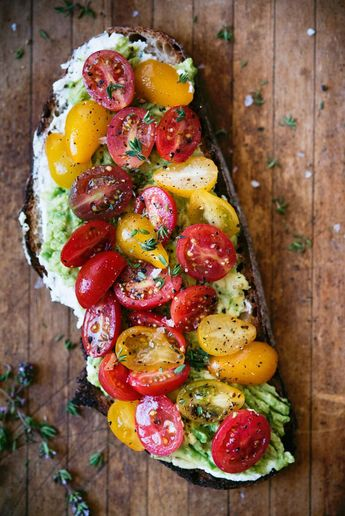 Loaded Avocado Toast with Thyme, Tomatoes & Ricotta
