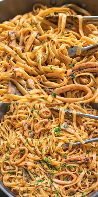 Tender calamari rings cooked in flavorful mushroom and roasted pepper sauce, and mixed with fettuccine pasta. This Creamy Calamari Fettuccine is my favorite seafood dish! FOLLOW Cooktoria for more deliciousness! #calamari #seafood #pasta #dinner #lunch #mealprep #tasty #yummy #recipeoftheday