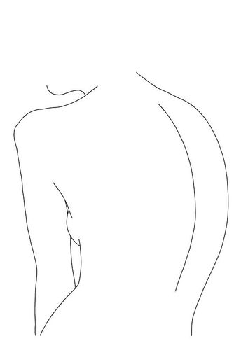 Line drawing of womens body, giclee print A2 size printed on lovely quality matt paper. Minimal style black and white drawing. Artwork also available in A4 and A3 size.