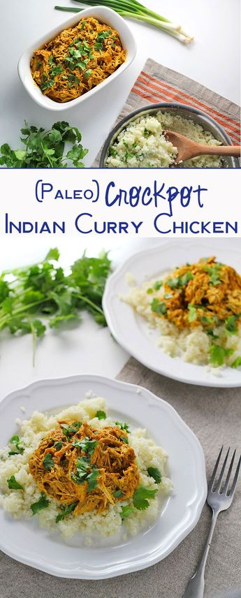 Slow Cooker Indian Curry Chicken Recipe - an easy and delicious slow cooker recipe with spices and coconut milk. Paleo and dairy-free.