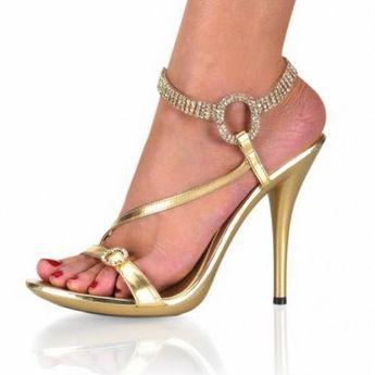 b6be368b96e1 Gold Rhinestone Wedding Shoes Stilettos Slingback Ankle Strap Sandals for  Work