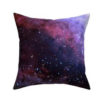 "Purple Galaxy Throw Pillow - Carina Nebula (edited Blue) by azizakadyri - Dark Cosmo  Starts 18""x18"""