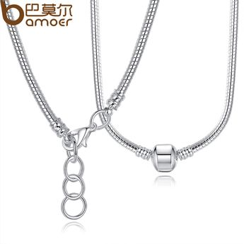 BAMOER 2 Style 45CM 925 Silver Charm Necklace Snake Chain Silver 925 Original Jewelry PA2130