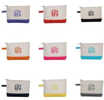 Monogram Makeup Bags Canvas Zipper Pouch Personalized Canvas Bag for Travel Wedding Shower Favors