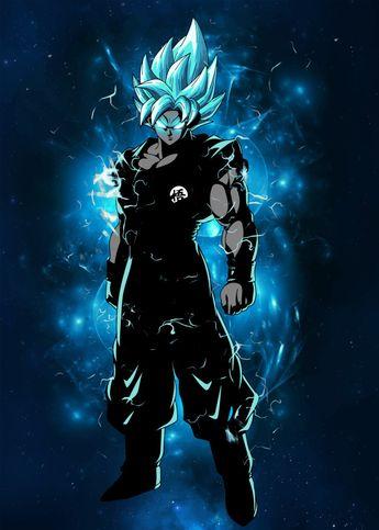 Displate Poster Dragon Ball Super Goku Super Saiyan Blue goku #dbs #dragon #ball #blue #saiyan #super