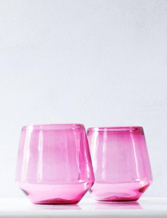 Angled Wine Glass in Peony Pink (Pair)