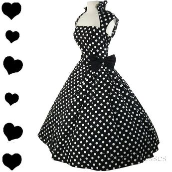 Details about 50s Dress Polka Dot Full Skirt Rockabilly Pinup Swing Party NEW S M L XL XXL 1X