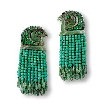 HEMMERLE. Earrings - tsavorites, turquoises, copper, white gold #Hemmerle #Jewelry #Jewellery #Egyptian-themed