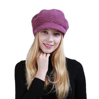 Women Knit Hat- Winter Wool Knitted Hat Beret Stretch Ski Beanie Cap with  Visor ( c206057975b1