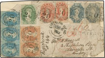 """Tasmania, Scott 26,32,37,41. 1865 Registered Cover Front to London Franked with """"Complete Set"""" of 1857/69 Chalon Imperforates, 1d red-brown pair, 2d yellow-green, 4d blue horizontal strip of three, 6d grey violet (2) and 1sh vermilion (2) all tied by «20» numeral obliterators and black Nov 12 «Circular Head» dispatch cds, straightline «REGISTERED» adjacent, red London Jan 12 1866 arrival cancel, faults as expected, still an eye-catching and extraordinary franking for the high 4/4 rate;(SG 26, 32"""
