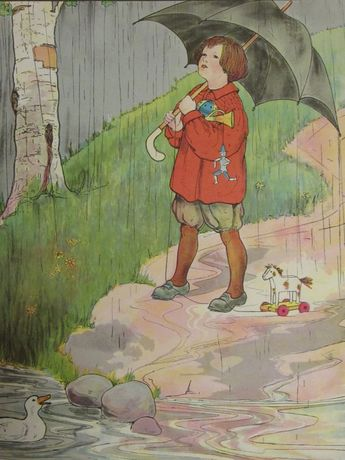 1970s Children's Print-RAIN-Vintage Book Page-Perfect for Framing/Color Plate/Book Print/Nursery Print/Unframed Print