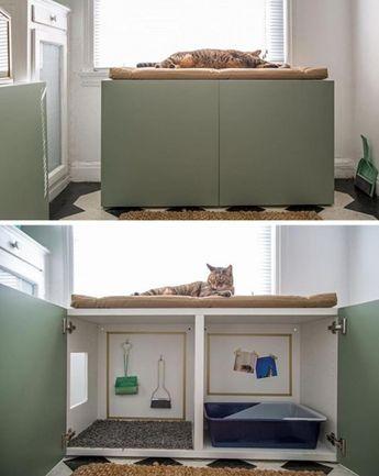 14 façons de cacher la litière du chat et de l'intégrer à la décoration de la pièce!
