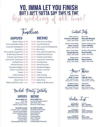 Editable Navy & Blush Wedding Timeline - Imma Let You Finish - Best wedding of All Time - Edit in Wo