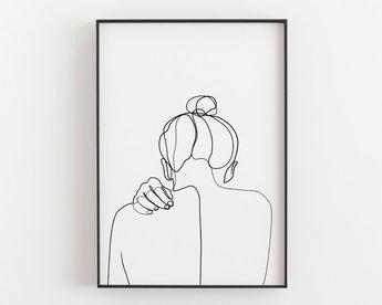 Woman back drawing, Female art print, One line art, Printable wall art, Woman silhouette, Hand art, Girl room decor, Minimalist art