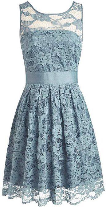 c892ee67f21 Amazon.com  SDRESS Women s A-line Short Lace Bridesmaid Dress with  Sleeveless Orange
