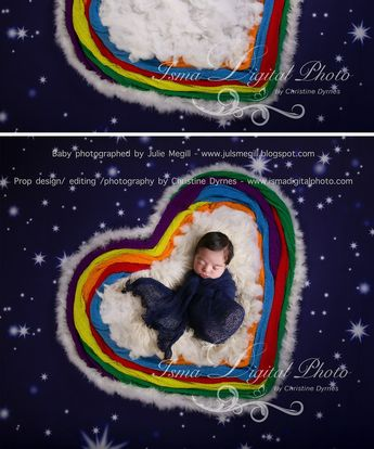 Rainbow baby heart and stars - Digital backdrop /background - psd with layers