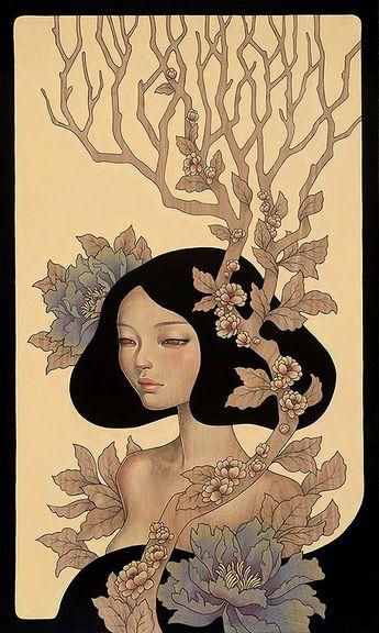 First Look: Audrey Kawasaki's Gorgeous Wood Panel Paintings