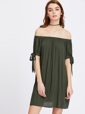 6b5e16f1156 Split Self Tie Sleeve Crinkle Off Shoulder Dress