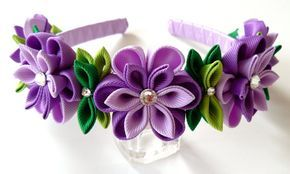Purple Kanzashi Fabric Flower headband. Purple flower crown headband. Wedding bridal headpiece. Kanzashi flower crown. Floral headpiece