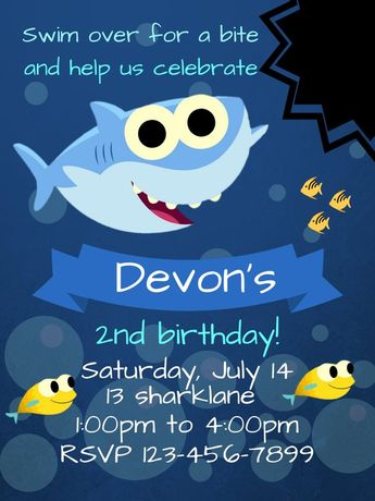 Baby Shark Birthday Invitation Invite