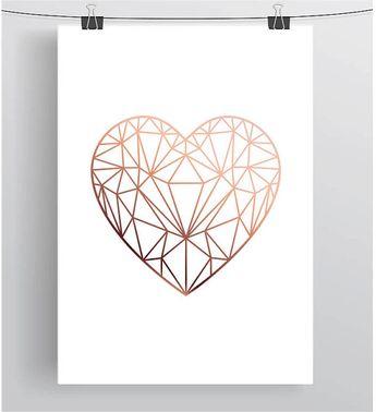 Copper Love Heart Print, Copper Printable Art, Scandinavian Print, Copper Decor, Geometric Love Heart Poster, INSTANT DOWNLOAD, Print Avenue