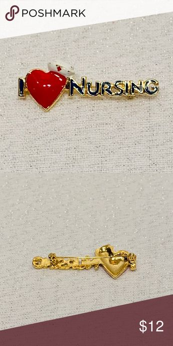 """I LOVE NURSING PIN I Love Nursing Pin! Adorable pin with heart and nursing cap! Measure approximately 3/4"""" x 2"""". Excellent used condition. BUNDLE FOR AN EVEN GREATER DISCOUNT!  * Nursing * Love * Pin * Gift Nursing Jewelry Brooches"""