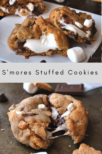 There's nothing better than these s'mores cookies. They are a constant family hit and so worth trying at least once! #smores #cookies #stuffedcookies