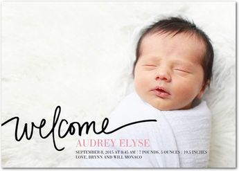 Pure Welcome - Girl Birth Announcements - Jill Smith - Watermelon - Pink : Front
