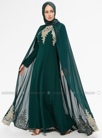 eef1fc9572a83 Emerald - Unlined - Crew neck - Muslim Evening Dress