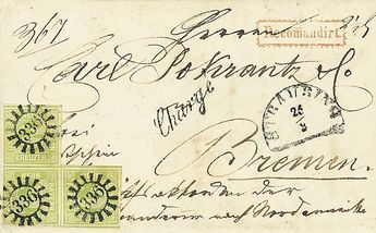 """Old German States Bavaria, Michel 5 c (3). 9 Kr. pale green in the block of three (1 value wzg. Ber. ) on finest superb cover, regarding emigrant to North America, from """"#336#"""" #STRAUBING# to #Bremen#, photo expertize Brettl BPP."""
