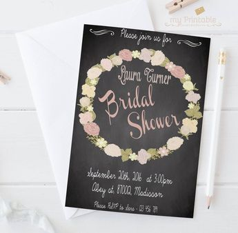 chalkboard bridal shower invite printable