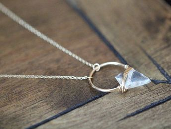Arrowhead Crystal Gemstone Necklace , Quartz Pendant In Gold , Rose , Sterling , Modern Bohemian Hoo