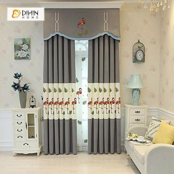 DIHIN HOME Red and Yellow Crane Embroidered,Blackout Curtains Grommet Window Curtain for Living Room ,52x84-inch,1 Panel