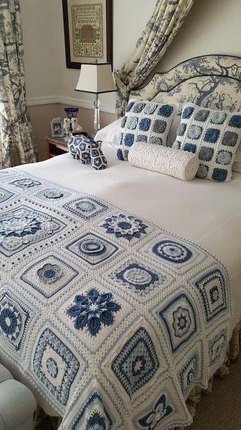 Squared Diamond Crochet Granny Throw