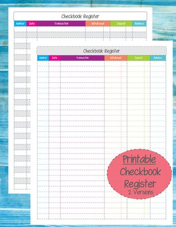 checkbook register printable organize finances