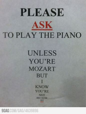 In a local music shop, taped to a Baldwin piano.