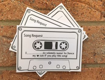 Wedding Song Request White Cards Vintage Retro Shabby Chic Patterned