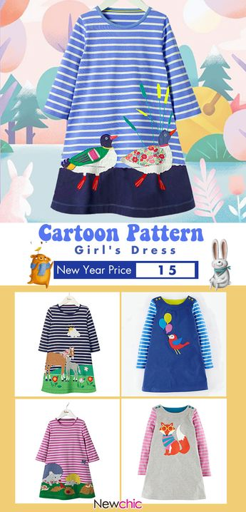 Casual Animal Print Girls Kids Long Sleeve Cotton Dress For 1Y-7Y