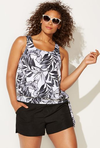 b511e1d039 Everlasting Floral Side Tie Blouson Tankini with Cargo Sho