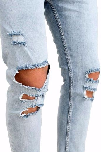 7924691b iMakcc Mens Stretchy Ripped Skinny Feet Biker Jeans Destroyed Taped Slim  Denim Pants 34 Blue *