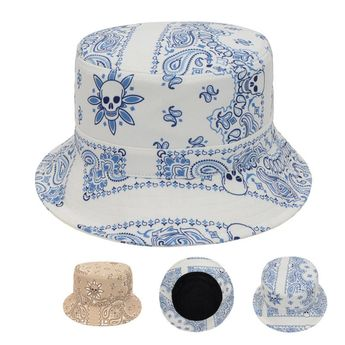 8c42df2c738 Paisley Flowers Skull Head Punk Unisex Bucket Hat Fishing Outdoor Beach Sun  Caps