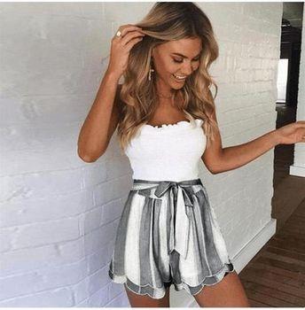 Pink White Striped Shorts Women Fashion 2018 Summer High Waist Frills Shorts Streetwear Bow Tie Streetwear Shorts Bottoms