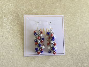 Red White Blue Shaggy Loops Earrings w/Fish Hook Wire