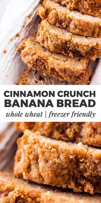 This whole wheat cinnamon crunch banana bread is SO good! Made with whole wheat flour, healthy Greek yogurt, mashed banana, eggs and oil. The cinnamon streusel crunch topping is SO good. Great for a special breakfast treat that's still a little healthier. | #recipe #easyrecipes #baking #bakingrecipes #breakfast #brunch #backtoschool #cinnamon #bananabread #kidfriendly