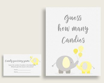 Candy Guessing Baby Shower Candy Guessing Yellow Baby Shower Candy Guessing Baby Shower Elephant Candy Guessing Yellow Gray prints W6ZPZ
