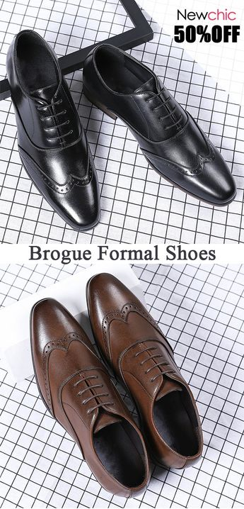 [50%off]Men Retro Color Leather Slip Resistant Brogue Casual Formal Shoes #retro #vintage #brougeshoes #dressshoes