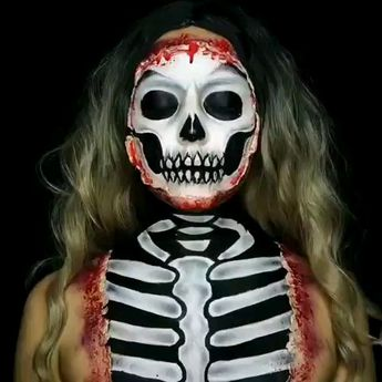 @maritza_alis  Exposed Skeleton Sfx look from last year! 💀 It's getting so close to October and I'm so excited to post my new looks👻🖤 I used @mehronmakeup Paradise paints. Liquid latex and fake blood from Halloween store. • • • • #31daysofhalloween #halloweenart #halloweenmakeup #skullmakeup #specialeffectsmakeup #sfxmakeup #scarymakeup #spooky #horrorart #crazymakeups #thehorrorhub #horrer_sketches #spookyseason #motd #liquidlatex #halloweeninspo #makeup #skeleton #c