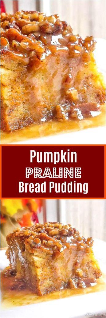Pumpkin Praline Bread Pudding is an easy, rich, Pumpkin Fall or Thanksgiving or holiday dessert. #Pumpkin #PumpkinDessert #ThanksgivingDessert